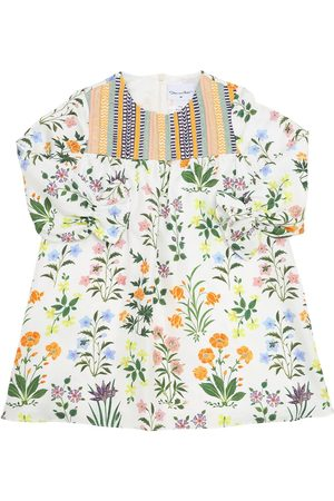 Oscar de la Renta Girls Printed Dresses - Flower Print Silk Twill Dress