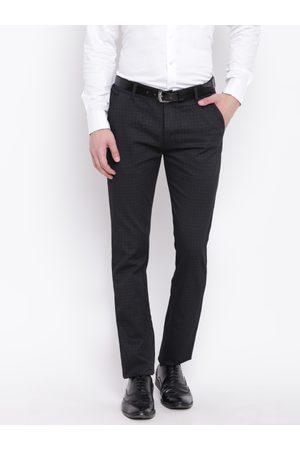 HANCOCK Men Black Slim Fit Checked Formal Trousers