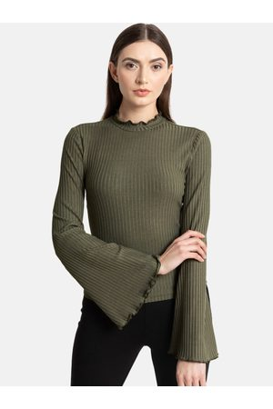 Kazo Women Olive Green Solid Round Neck T-shirt