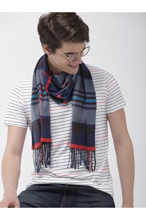Mast & Harbour Unisex Navy Blue & Red Checked Acrylic Scarf