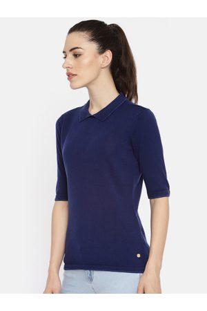 Ralph Lauren Women Short Sleeve - Blue Solid Polo Collar T-shirt