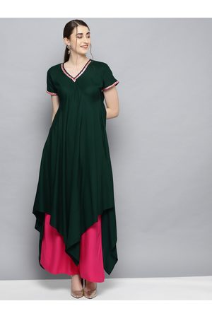 Ahalyaa Women Green & Pink Solid Kurta with Palazzos