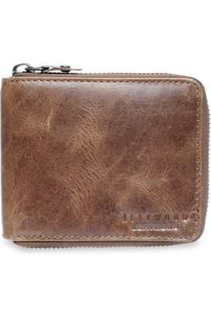 Teakwood Leathers Men Brown Solid Zip Around Leather Wallet