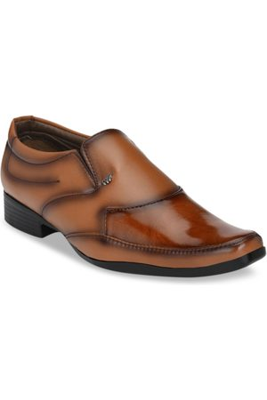Sir Corbett Men Tan Brown Textured Slip-Ons