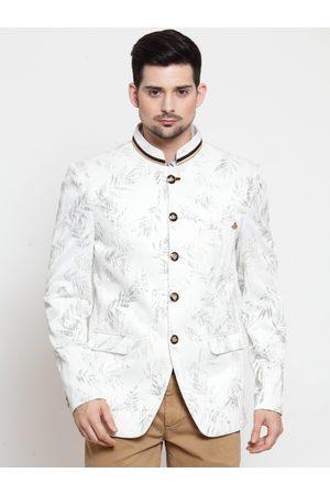 LUXURAZI Men White Printed Slim-Fit Bandhgala Blazer