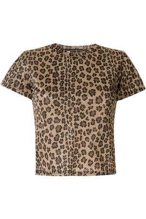 Fendi Women Short Sleeve - 1990s leopard print mesh T-shirt
