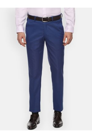Louis Philippe Men Navy Blue Slim Fit Self Design Formal Trousers