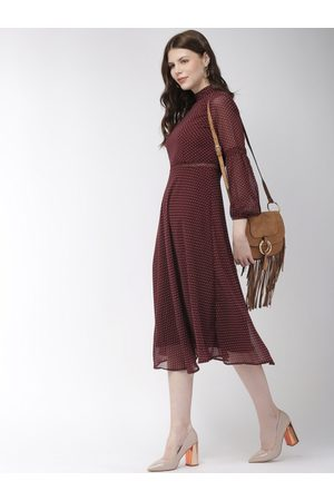 20Dresses Women Printed Maroon Fit and Flare Dress