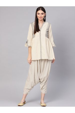 Biba Women Off-White & Charcoal Grey Embroidered Tunic with Dhoti Pants