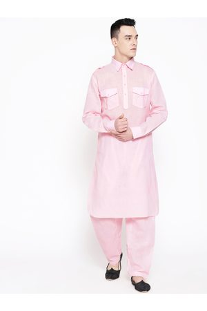 SG LEMAN Men Pink Solid Pathani Kurta with Salwar