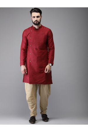Anouk Men Maroon & Beige Solid Kurta with Salwar