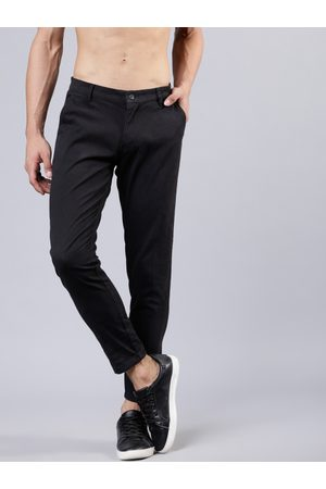 Highlander Men Black Slim Fit Striped Formal Trousers