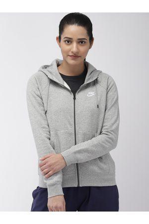 Nike Women Grey Melange ESSNTL HOODIE FZ FLC Sweatshirt