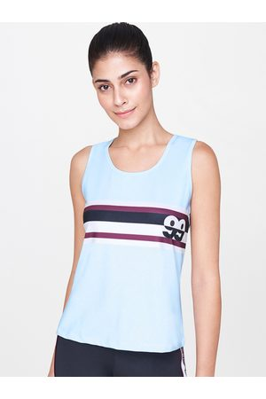 AND Women Blue & White Striped Activewear Tank Top