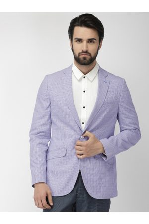 Raymond Weil Men Blue & Red Self-Checked Slim Fit Single-Breasted Formal Blazer