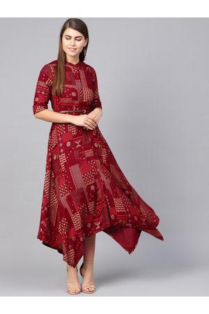Juniper Women Maroon & Golden Printed Maxi Dress
