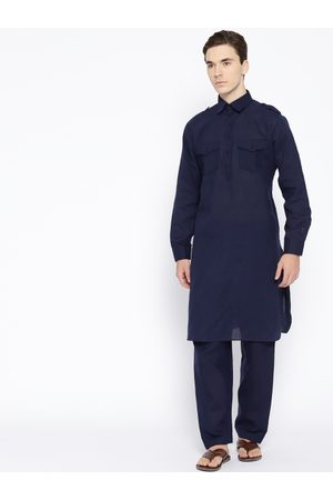 SG LEMAN Men Navy Blue Solid Kurta with Salwar