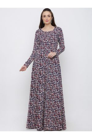 Indian Virasat Women White & Blue Printed Maxi Dress