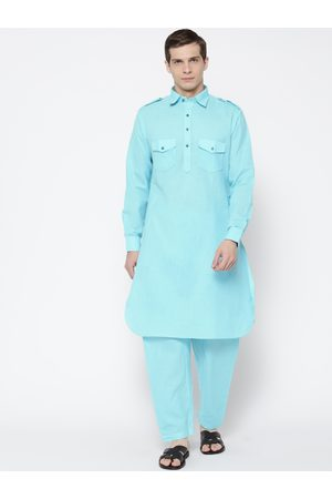 SG LEMAN Men Blue Solid Pathani Kurta with Salwar