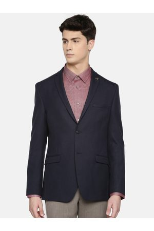 Theme Men Navy Blue Solid Fitted Single-Breasted Formal Blazer