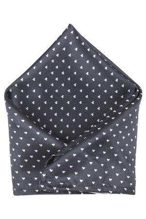 Blacksmith Men Charcoal Black & White Printed Pocket Square