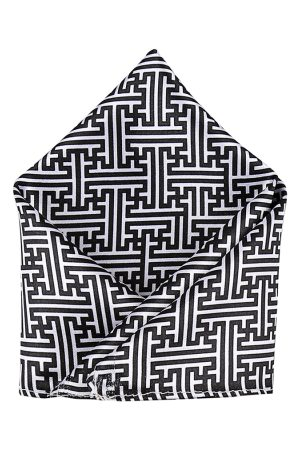 Blacksmith Men Black & White Printed Pocket Squares