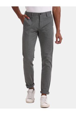 Arrow Men Grey Slim Fit Self Design Regular Trousers
