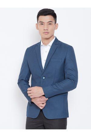 Shaftesbury Men Navy Blue Slim Fit Self-Design Formal Blazer