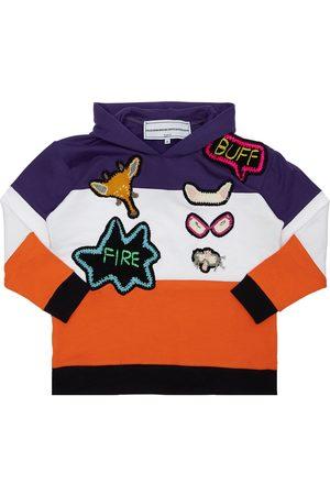 MICHAELA BUERGER Cotton Sweatshirt Hoodie W/ Knit Patch