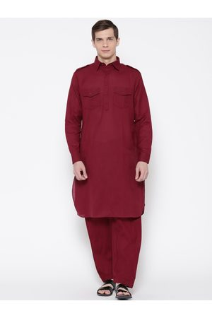 SG LEMAN Men Maroon Solid Pathani Kurta with Salwar
