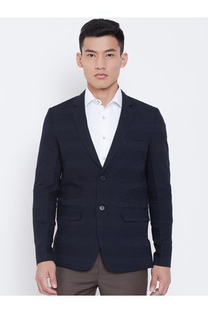 Shaftesbury Men Navy Blue Self-Design Slim Fit Single-Breasted Formal Blazer