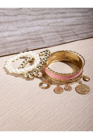 Shining Diva Women Set of 6 Gold-Plated & Pink Pearl Antique Bangles