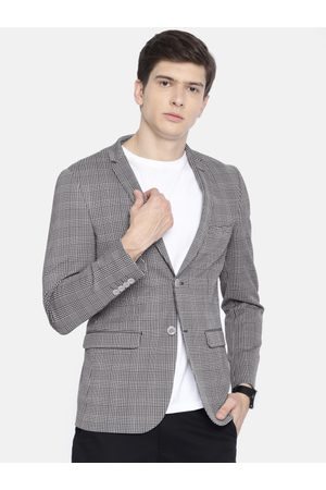 Louis Philippe Louis Philippe Men Grey Checked Regular Fit Single-Breasted Casual Blazer