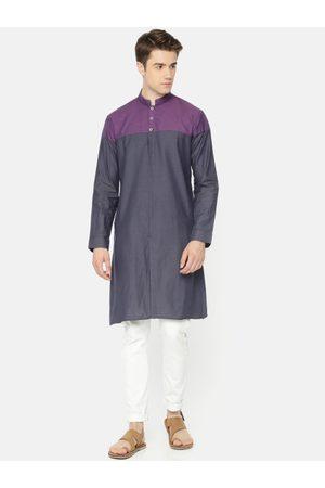 Freehand Men Grey & Purple Colourblocked Straight Kurta