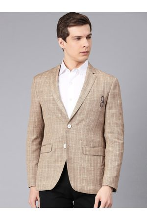 Peter England Elite Men Khaki Checked Neo Slim Fit Single-Breasted Smart Casual Blazer