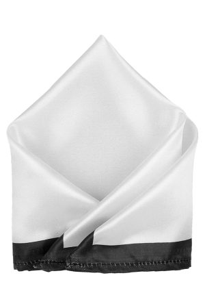 Blacksmith Men White Solid Pocket Square