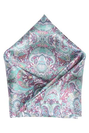 Blacksmith Men Green & Purple Printed Pocket Squares