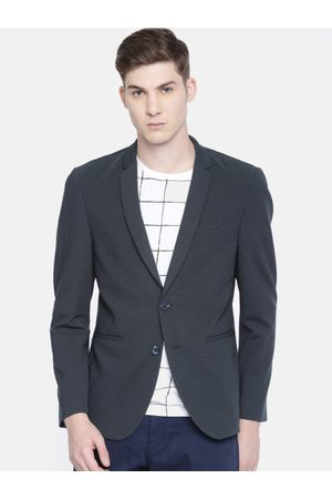 Louis Philippe Louis Philippe Men Navy Blue Self Design Super Slim Fit Single-Breasted Casual Blazer