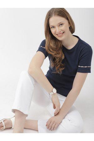 Mast & Harbour Women Navy Blue Solid Round Neck T-shirt