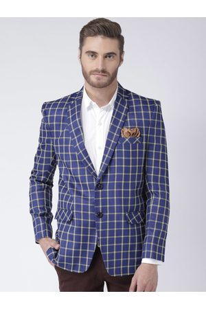 Hangup Men Blue and Beige Checked Single Breasted Regular Fit Formal Blazer