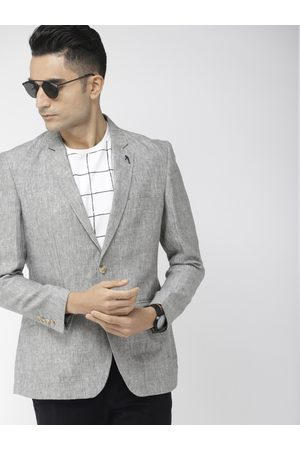 Indian Terrain Men Grey Solid Single-Breasted Linen Casual Blazer