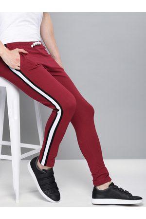 DILLINGER Men Maroon Solid Slim Fit Track Pants