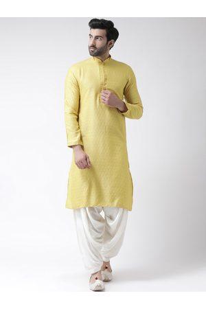 KISAH Men Yellow Self Design Kurta with Patiala