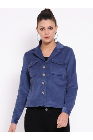 Oxolloxo Women Blue Solid Corduroy Tailored Jacket