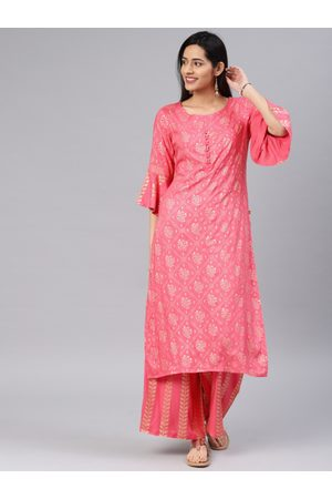 ALENA Women Pink & Gold-Coloured Printed Kurta with Palazzos