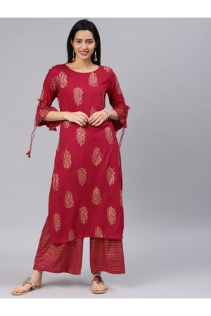 ALENA Women Maroon & Gold-Coloured Printed Kurta with Palazzos