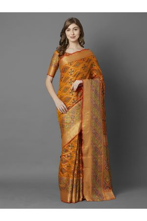Mitera Women Mustard Yellow & Orange Silk Blend Woven Design Banarasi Saree