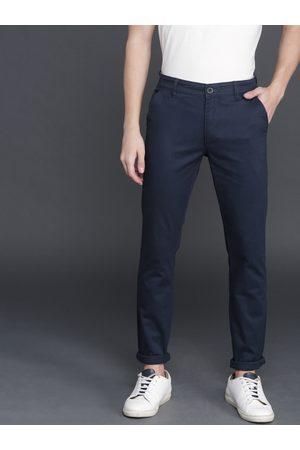 WROGN Men Navy Blue Solid Slim Fit Chinos