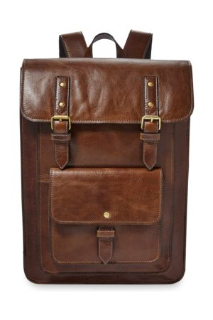 Fossil Men Brown Solid Leather Backpack