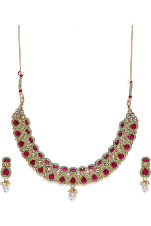Zaveri Pearls Pink & Green Gold-Plated Studded Enamelled Jewellery Set